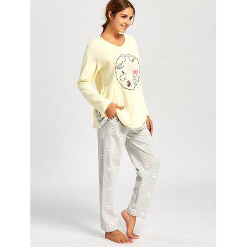 Nursing Cotton T-shirt with Floral PJ Pants - XL XL