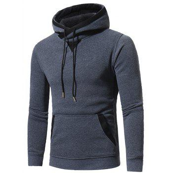 Selvedge Elbow Patch Fleece Pullover Hoodie - DEEP GRAY 2XL