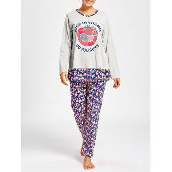 Nursing Pajamas T-shirt with Floral Pants - LIGHT GRAY LIGHT GRAY