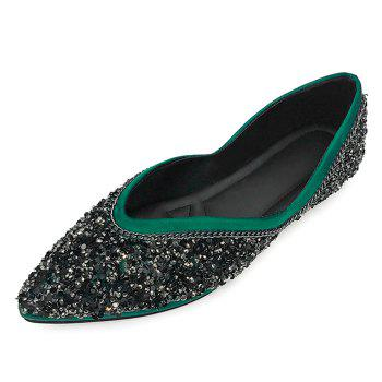 Glitter Slip On Satin Flat Shoes - GREEN 40