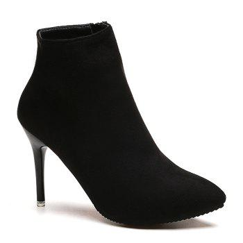 Ankle Pointed Toe Stiletto Boots - BLACK 39