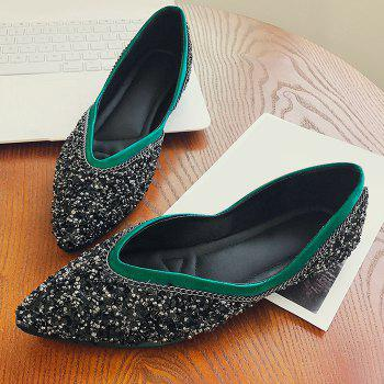 Glitter Slip On Satin Flat Shoes - GREEN 37