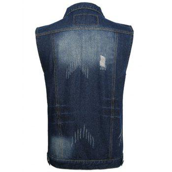 Flap Pocket Distressed Denim Vest - DEEP BLUE 2XL