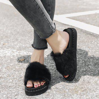 PU Leather Faux Fur Slide Sandals - BLACK BLACK