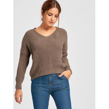 Back Lace-up Scoop Neck Sweater - COFFEE COFFEE