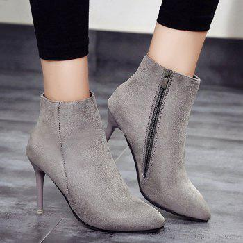 Ankle Pointed Toe Stiletto Boots - GRAY GRAY