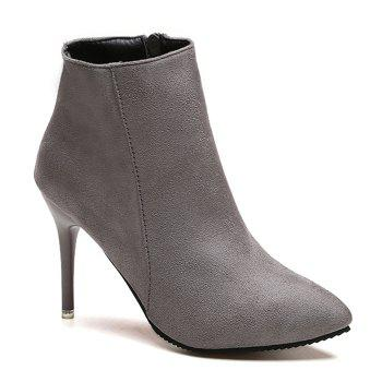 Ankle Pointed Toe Stiletto Boots - GRAY 36