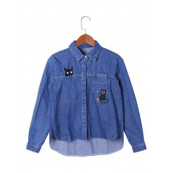 Patch Pocket High Low Hem Shirt Jacket - BLUE 2XL