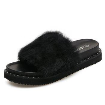 PU Leather Faux Fur Slide Sandals - 35 35