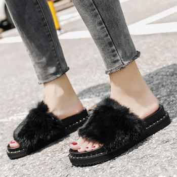 PU Leather Faux Fur Slide Sandals - 36 36