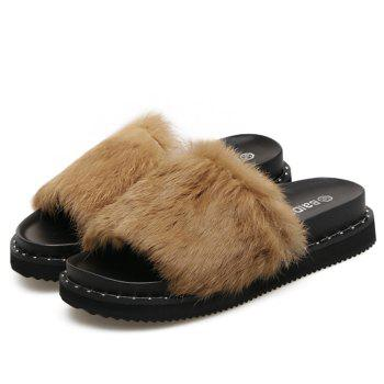 PU Leather Faux Fur Slide Sandals - BROWN 40
