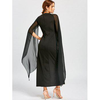 Maxi Chiffon Cape Dress - BLACK 2XL