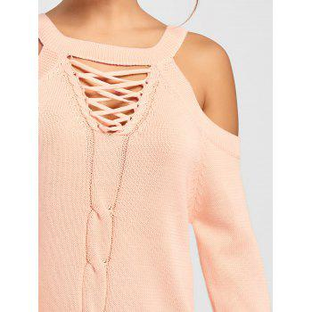 Criss Cross Cold Shoulder Sweater - PINK M