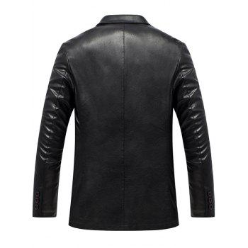 Lapel Single Breasted Faux Leather Blazer - BLACK 3XL