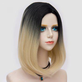 Medium Side Parting Straight Bob Ombre Party Synthetic Wig -  BLACK/GOLDEN