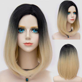 Medium Side Parting Straight Bob Ombre Party Synthetic Wig - BLACK AND GOLDEN BLACK/GOLDEN