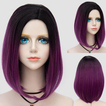 Medium Side Parting Straight Bob Ombre Party Synthetic Wig - DARK VIOLET DARK VIOLET