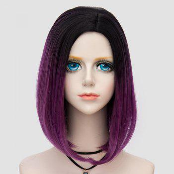 Medium Side Parting Straight Bob Ombre Party Synthetic Wig -  DARK VIOLET