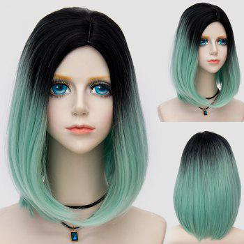 Medium Side Parting Straight Bob Ombre Party Synthetic Wig - LIGHT GREEN LIGHT GREEN
