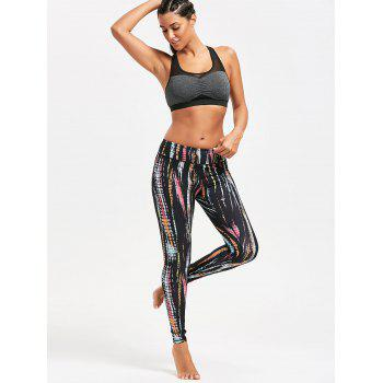 Colorful Tie Dye Exercise Leggings - BLACK 2XL