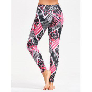 Floral Arygle Pattern Leggings for Yoga - M M
