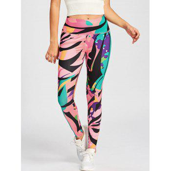 High Waist Printed Sport Leggings - COLORMIX COLORMIX