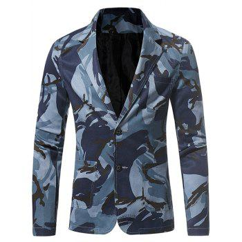 Lapel 3D Camouflage Single Breasted Blazer - BLUE L