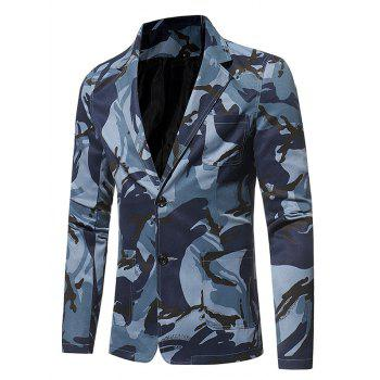 Lapel 3D Camouflage Single Breasted Blazer - L L