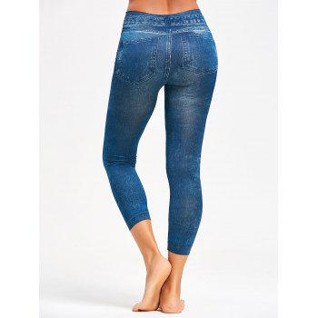 Hot Printed Jeggings - BLUE ONE SIZE