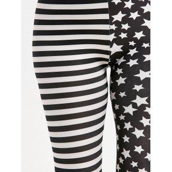 Contrast Stripes and Stars Printed Leggings - ONE SIZE ONE SIZE