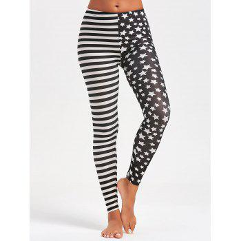 Contrast Stripes and Stars Printed Leggings - BLACK ONE SIZE