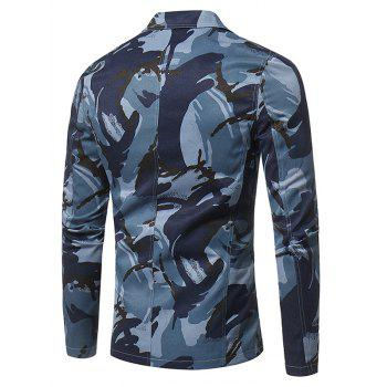 Lapel 3D Camouflage Single Breasted Blazer - BLUE 2XL