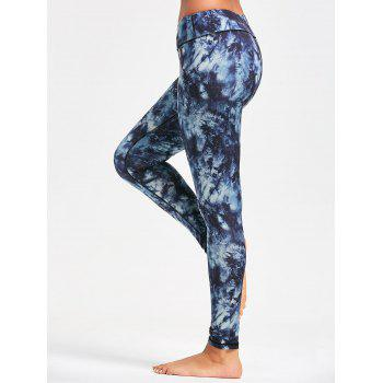 Pocket Insert Tie Dye Sports Leggings - PURPLISH BLUE M