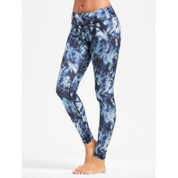 Pocket Insert Tie Dye Sports Leggings - PURPLISH BLUE XL
