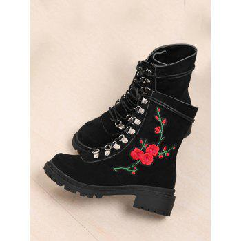 Floral Embroidery Metal Chunky Heel Ankle Boots - BLACK 38