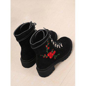 Floral Embroidery Metal Chunky Heel Ankle Boots - BLACK 39