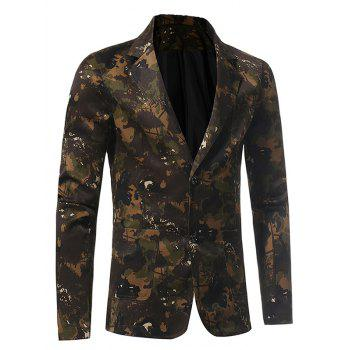 Lapel 3D Camouflage Single Breasted Blazer - GREEN XL
