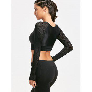 Mesh Insert Long Sleeve Crop Tee shirt - BLACK BLACK