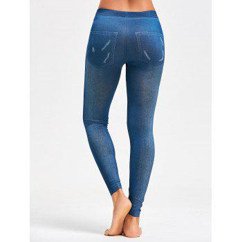 Faux Faded Jeggings - Bleu ONE SIZE