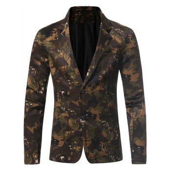 Lapel 3D Camouflage Single Breasted Blazer - GREEN GREEN