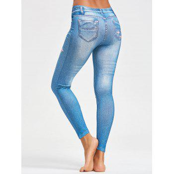 Stars Printed Jeggings - BLUE BLUE