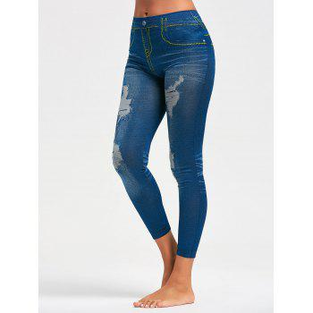 Faux Distressed Jeggings - BLUE ONE SIZE