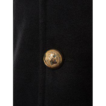 Double Breasted Wool Blend Longline Trench Coat - BLACK 3XL