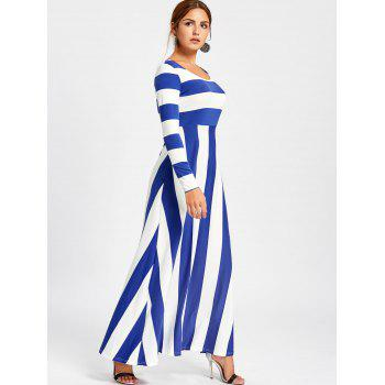 Striped Long Sleeve Maxi Dress - BLUE M