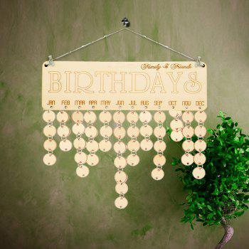 Family And Friends Birthdays Reminder DIY Wooden Board - IVORY YELLOW