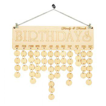 Family And Friends Birthdays Reminder DIY Wooden Board - IVORY YELLOW IVORY YELLOW
