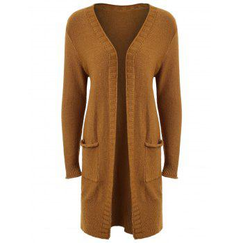 Plus Size Open Front Pocket Cardigan - BROWN BROWN