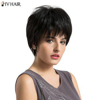 Siv Hair Fluffy Layered Short Straight Human Hair Wig - BLACK BLACK