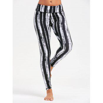 Striped Tie Dye Running Leggings - BLACK BLACK