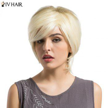 Siv Hair Short Side Bang Fluffy Layered Slightly Curly Human Hair Wig - VENETIAN GOLD VENETIAN GOLD